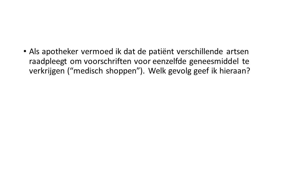 Als apotheker vermoed ik dat de patiënt verschillende artsen raadpleegt om voorschriften voor eenzelfde geneesmiddel te verkrijgen ( medisch shoppen ).