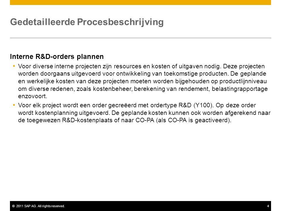 ©2011 SAP AG. All rights reserved.4 Gedetailleerde Procesbeschrijving Interne R&D-orders plannen  Voor diverse interne projecten zijn resources en ko
