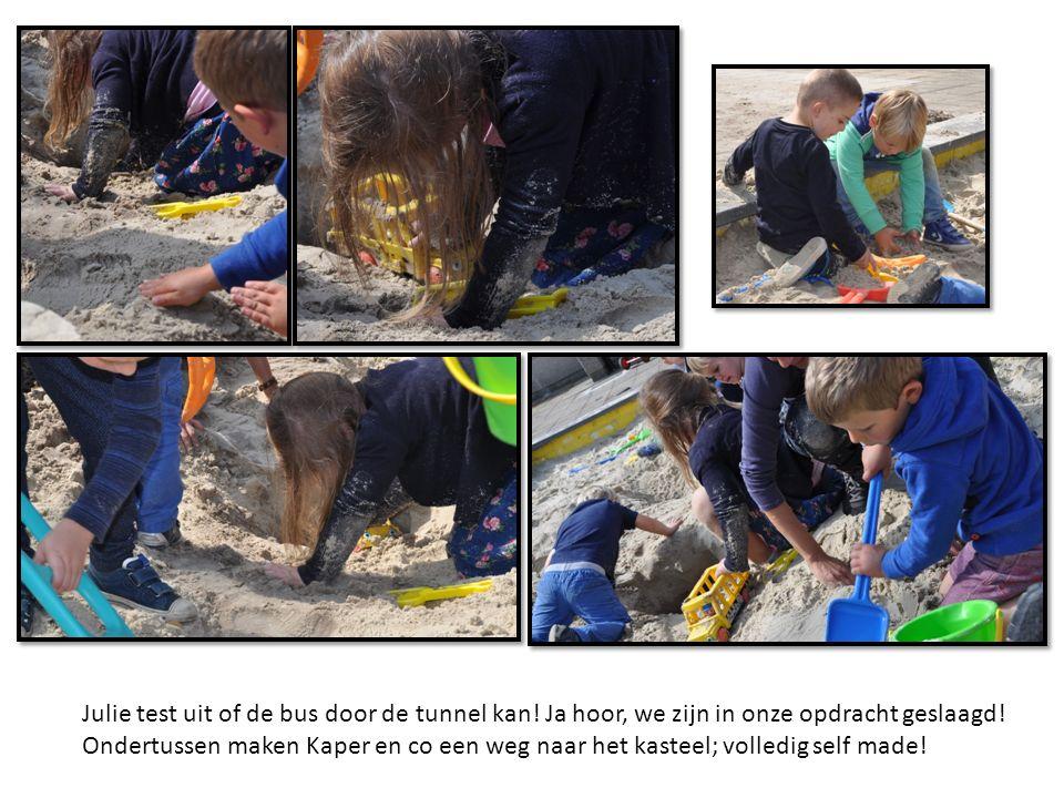 Julie test uit of de bus door de tunnel kan. Ja hoor, we zijn in onze opdracht geslaagd.