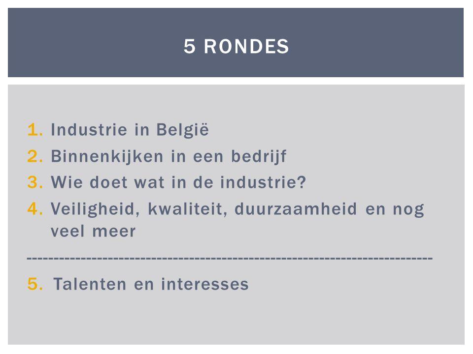 1.Industrie in België 2.Binnenkijken in een bedrijf 3.Wie doet wat in de industrie.