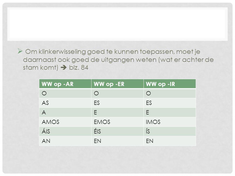  Om klinkerwisseling goed te kunnen toepassen, moet je daarnaast ook goed de uitgangen weten (wat er achter de stam komt)  blz. 84 WW op -ARWW op -E