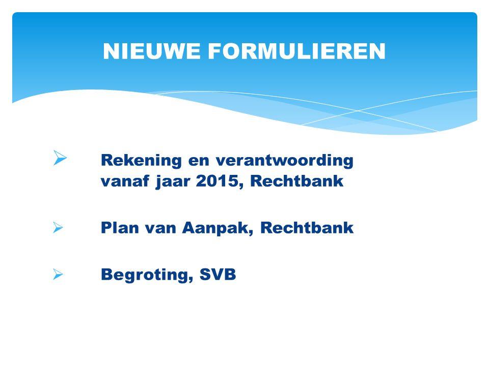  Rekening en verantwoording vanaf jaar 2015, Rechtbank  Plan van Aanpak, Rechtbank  Begroting, SVB NIEUWE FORMULIEREN