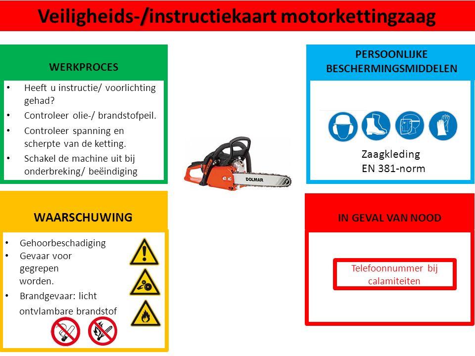 Gehoorbeschadiging Gevaar voor gegrepen worden. Brandgevaar: licht ontvlambare brandstof WAARSCHUWING /Veiligheids-/instructiekaart motorkettingzaag W