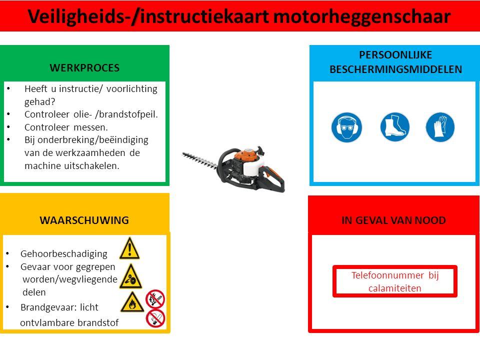 Gehoorbeschadiging Gevaar voor gegrepen worden/wegvliegende delen Brandgevaar: licht ontvlambare brandstof WAARSCHUWING /Veiligheids-/instructiekaart