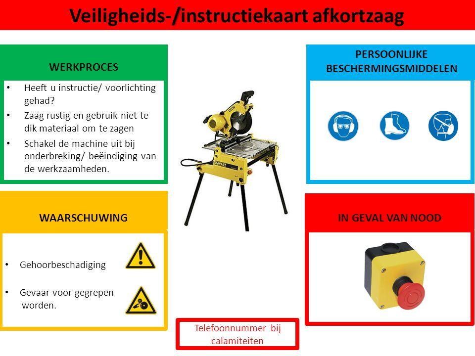 Knel- /pletgevaar / Veiligheids-/instructiekaart hydraulische pers WERKPROCES PERSOONLIJKE BESCHERMINGSMIDDELEN Heeft u instructie/ voorlichting gehad.