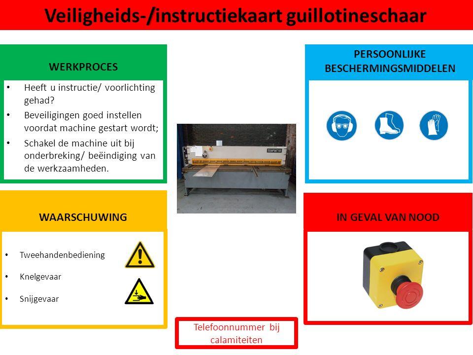 Tweehandenbediening Knelgevaar Snijgevaar / Veiligheids-/instructiekaart guillotineschaar WERKPROCES PERSOONLIJKE BESCHERMINGSMIDDELEN Heeft u instruc