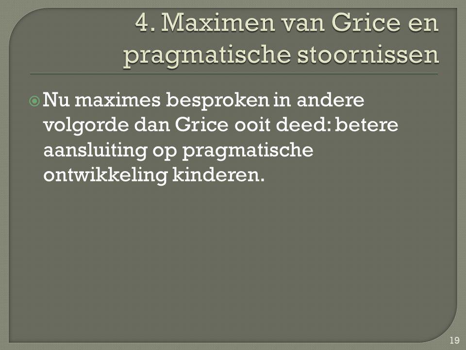  Nu maximes besproken in andere volgorde dan Grice ooit deed: betere aansluiting op pragmatische ontwikkeling kinderen. 19