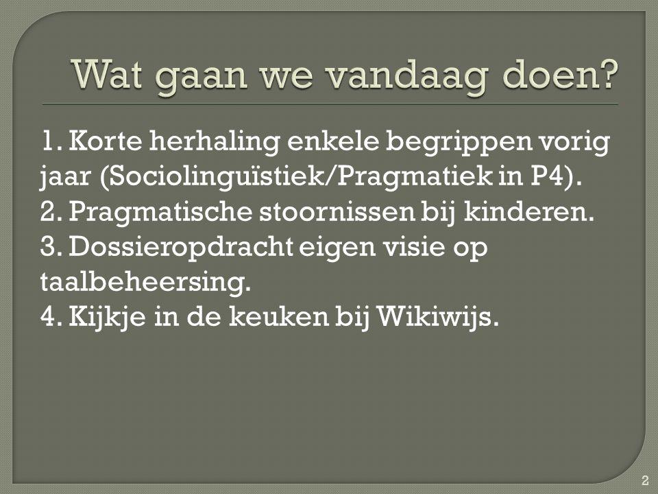1.Korte herhaling enkele begrippen vorig jaar (Sociolinguïstiek/Pragmatiek in P4).