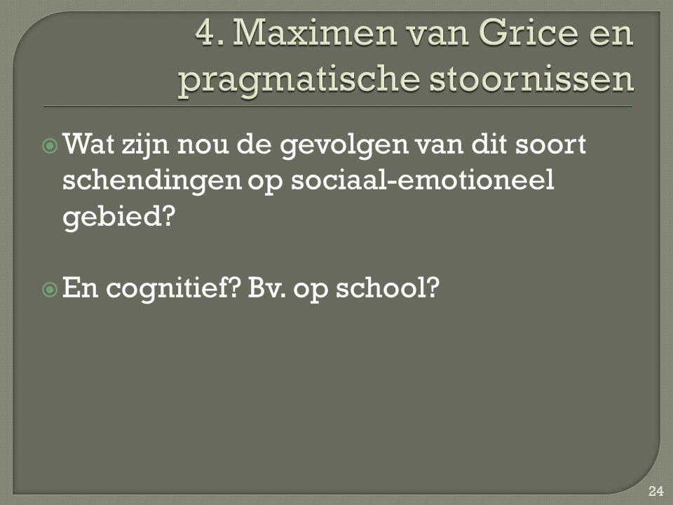  Wat zijn nou de gevolgen van dit soort schendingen op sociaal-emotioneel gebied?  En cognitief? Bv. op school? 24