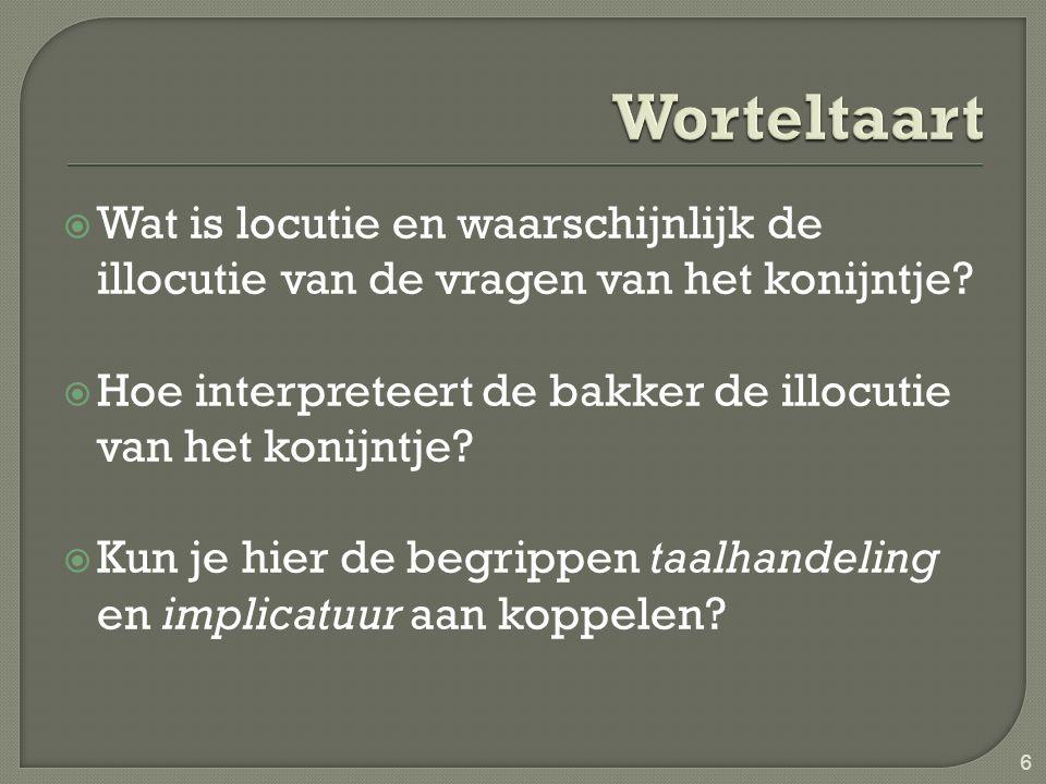  Wat is locutie en waarschijnlijk de illocutie van de vragen van het konijntje?  Hoe interpreteert de bakker de illocutie van het konijntje?  Kun j