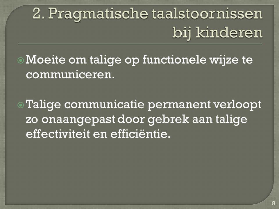  Moeite om talige op functionele wijze te communiceren.  Talige communicatie permanent verloopt zo onaangepast door gebrek aan talige effectiviteit