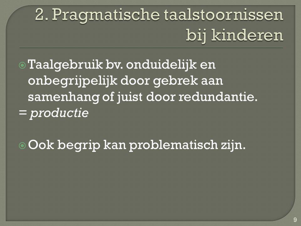  Taalgebruik bv. onduidelijk en onbegrijpelijk door gebrek aan samenhang of juist door redundantie. = productie  Ook begrip kan problematisch zijn.