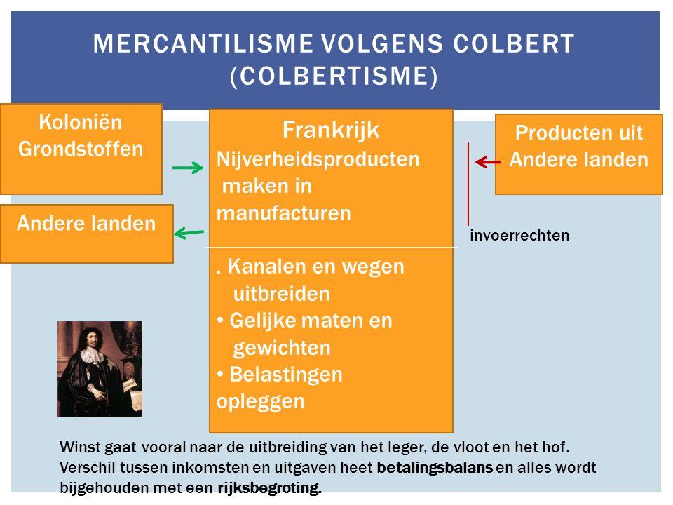 MERCANTILISME VOLGENS COLBERT (COLBERTISME) Frankrijk Nijverheidsproducten maken in manufacturen. Kanalen en wegen uitbreiden Gelijke maten en gewicht