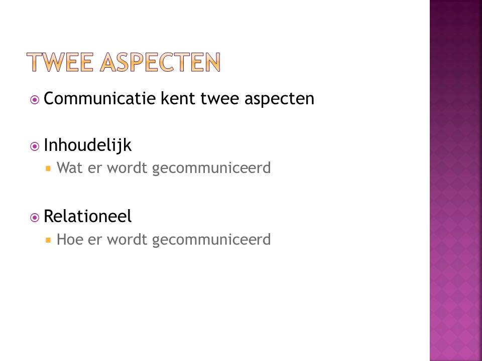  Communicatie kent twee aspecten  Inhoudelijk  Wat er wordt gecommuniceerd  Relationeel  Hoe er wordt gecommuniceerd