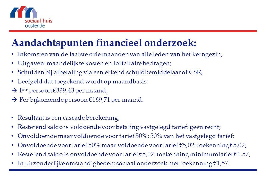 Aandachtspunten financieel onderzoek: Inkomsten van de laatste drie maanden van alle leden van het kerngezin; Uitgaven: maandelijkse kosten en forfait
