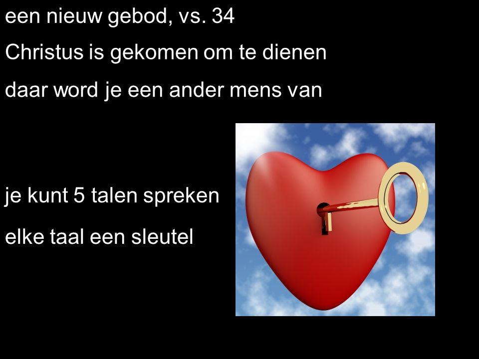 . een nieuw gebod, vs. 34 je kunt 5 talen spreken Christus is gekomen om te dienen daar word je een ander mens van elke taal een sleutel