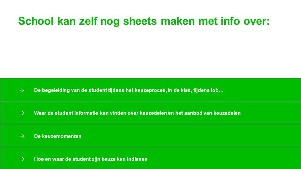 School kan zelf nog sheets maken met info over: → De begeleiding van de student tijdens het keuzeproces, in de klas, tijdens lob… → Waar de student in