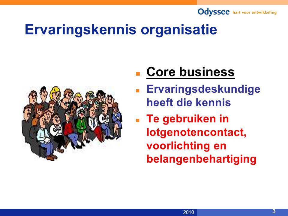 2010 3 Ervaringskennis organisatie Core business Ervaringsdeskundige heeft die kennis Te gebruiken in lotgenotencontact, voorlichting en belangenbehartiging