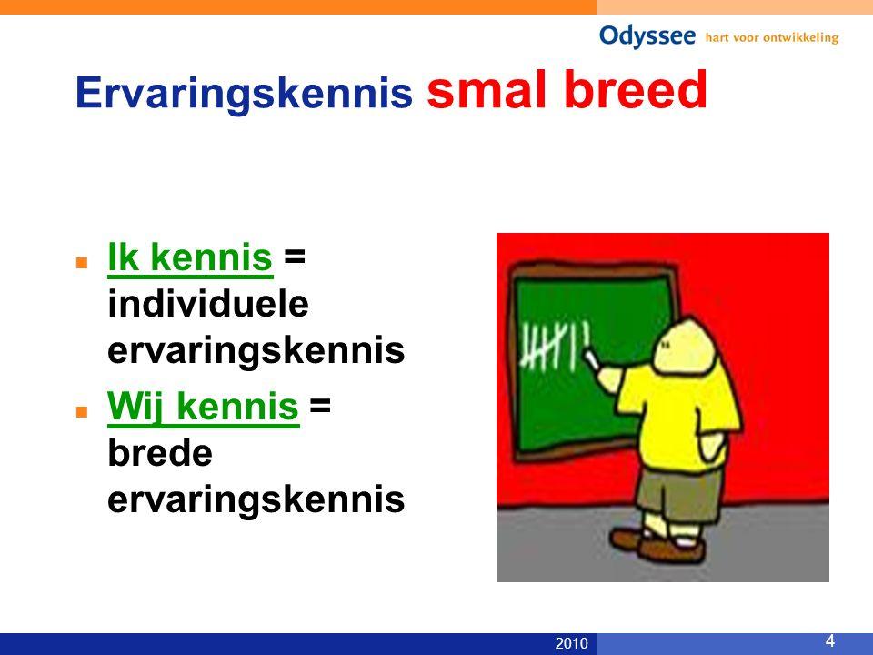 2010 4 Ervaringskennis smal breed Ik kennis = individuele ervaringskennis Wij kennis = brede ervaringskennis