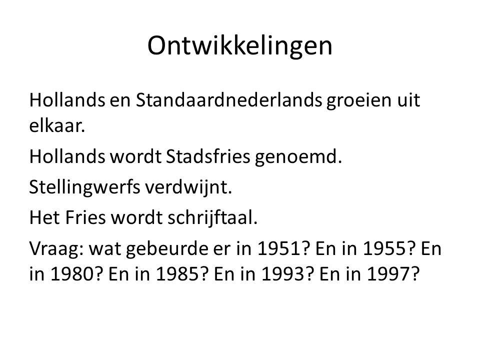 Ontwikkelingen Hollands en Standaardnederlands groeien uit elkaar.