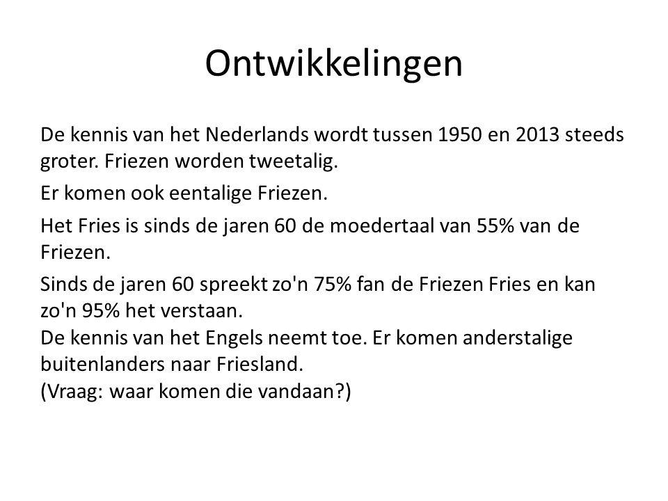Ontwikkelingen De kennis van het Nederlands wordt tussen 1950 en 2013 steeds groter.
