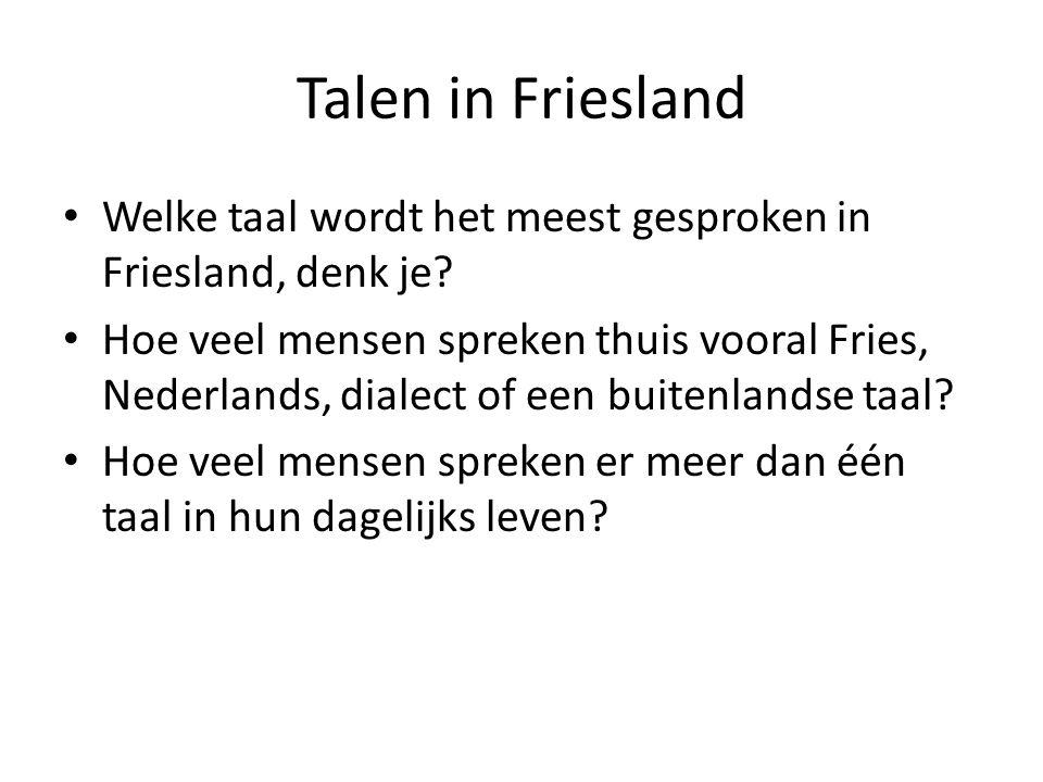 Talen in Friesland Welke taal wordt het meest gesproken in Friesland, denk je.