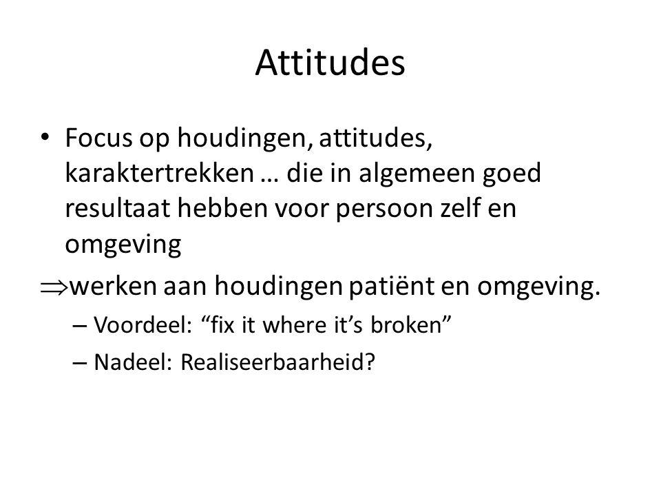 Attitudes Focus op houdingen, attitudes, karaktertrekken … die in algemeen goed resultaat hebben voor persoon zelf en omgeving  werken aan houdingen