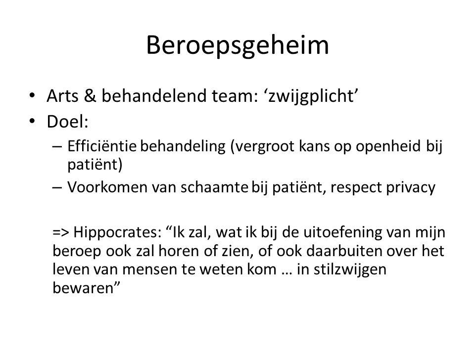 Beroepsgeheim Arts & behandelend team: 'zwijgplicht' Doel: – Efficiëntie behandeling (vergroot kans op openheid bij patiënt) – Voorkomen van schaamte
