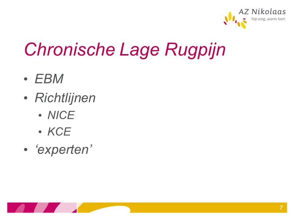 7 Chronische Lage Rugpijn EBM Richtlijnen NICE KCE 'experten'