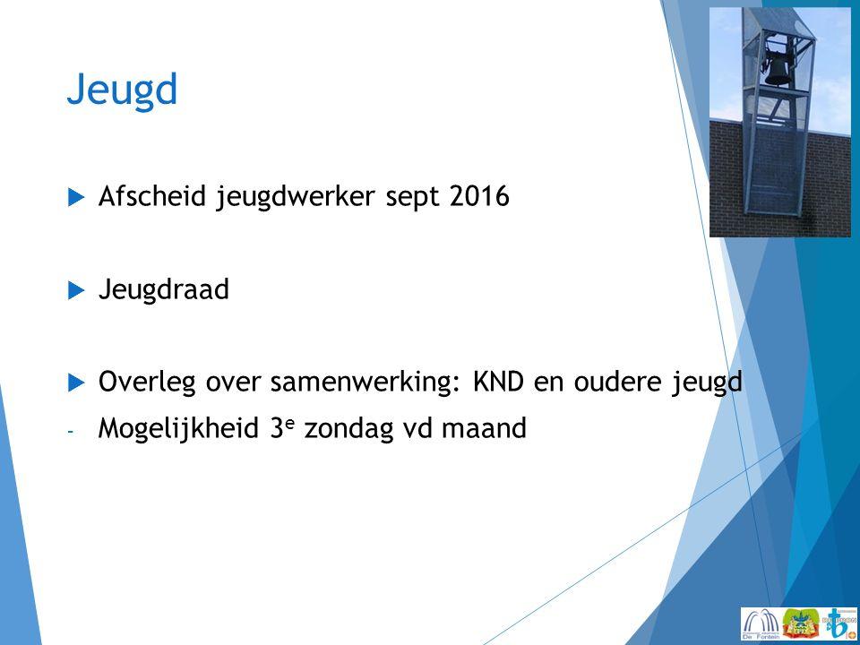 Jeugd  Afscheid jeugdwerker sept 2016  Jeugdraad  Overleg over samenwerking: KND en oudere jeugd - Mogelijkheid 3 e zondag vd maand