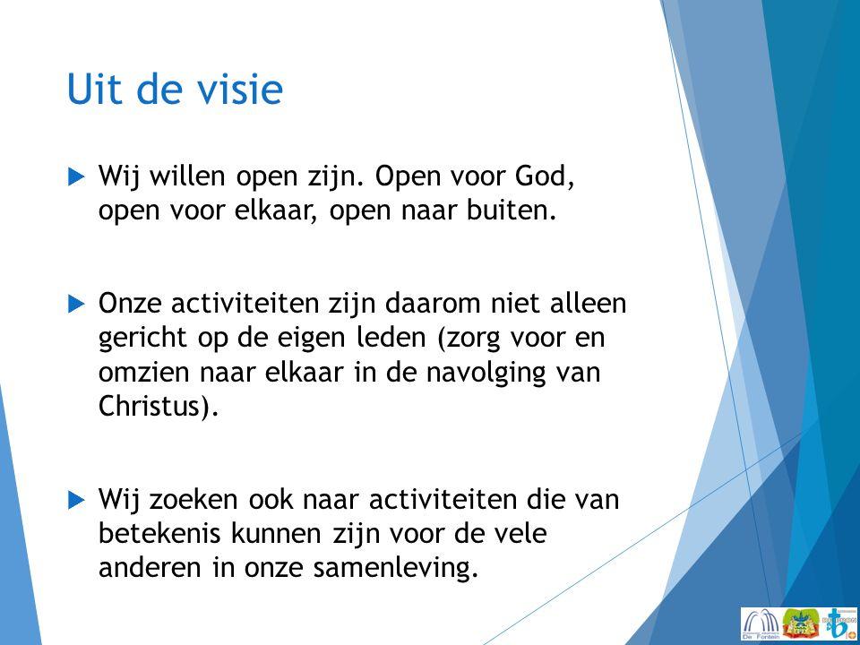 Uit de visie  Wij willen open zijn. Open voor God, open voor elkaar, open naar buiten.