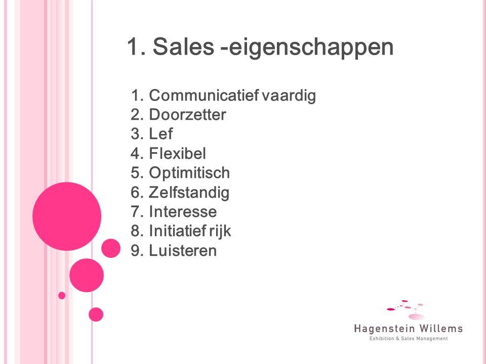 1. Sales -eigenschappen 1.Communicatief vaardig 2.Doorzetter 3.Lef 4.Flexibel 5.Optimitisch 6.Zelfstandig 7.Interesse 8.Initiatief rijk 9.Luisteren