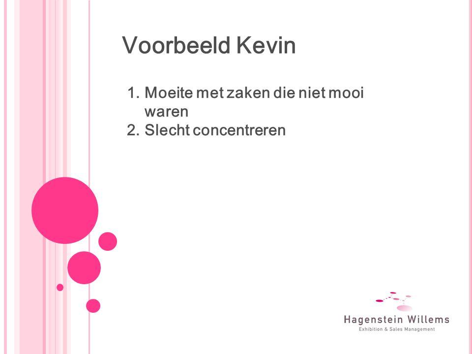 Voorbeeld Kevin 1.Moeite met zaken die niet mooi waren 2.Slecht concentreren