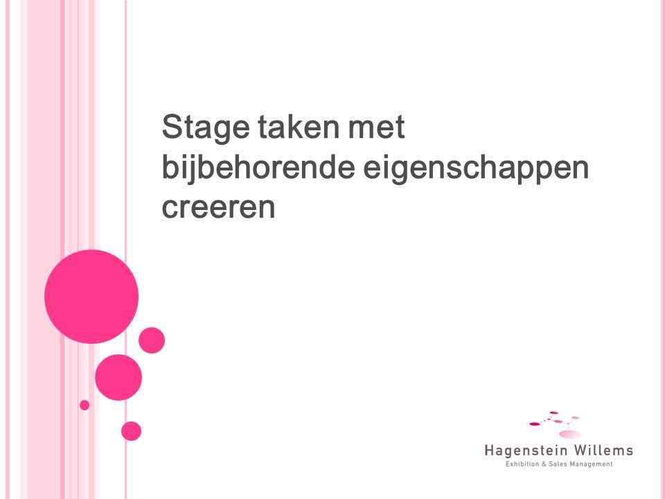 Stage taken met bijbehorende eigenschappen creeren