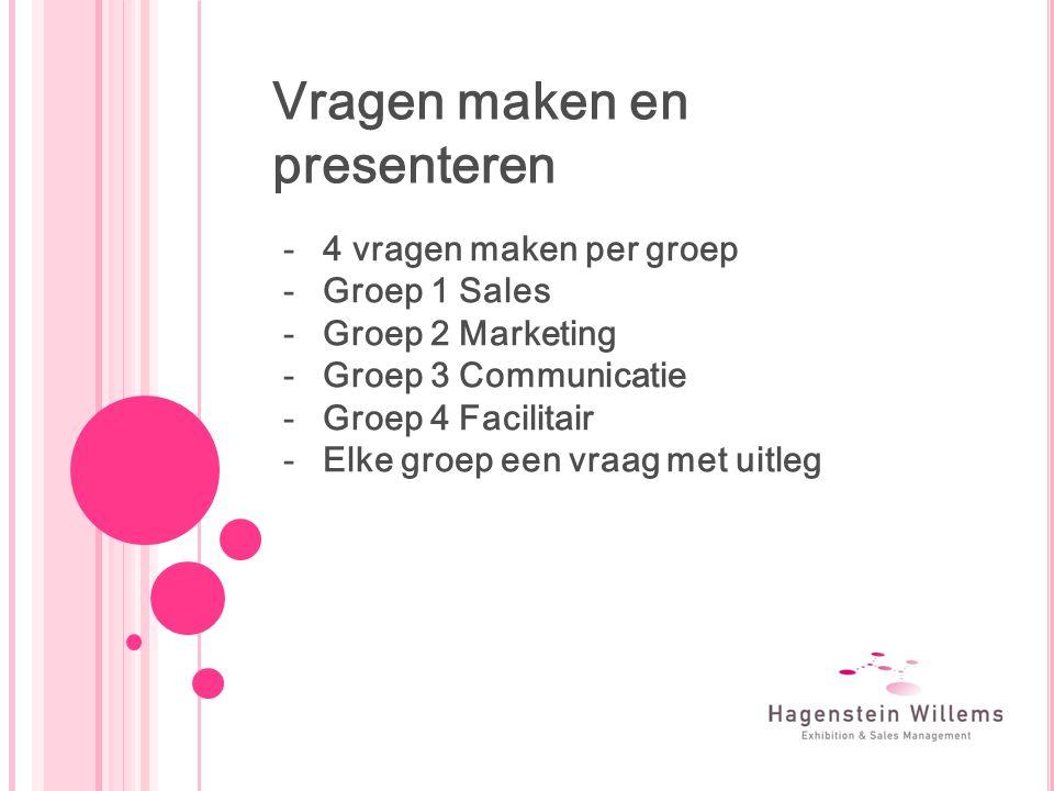Vragen maken en presenteren -4 vragen maken per groep -Groep 1 Sales -Groep 2 Marketing -Groep 3 Communicatie -Groep 4 Facilitair -Elke groep een vraag met uitleg