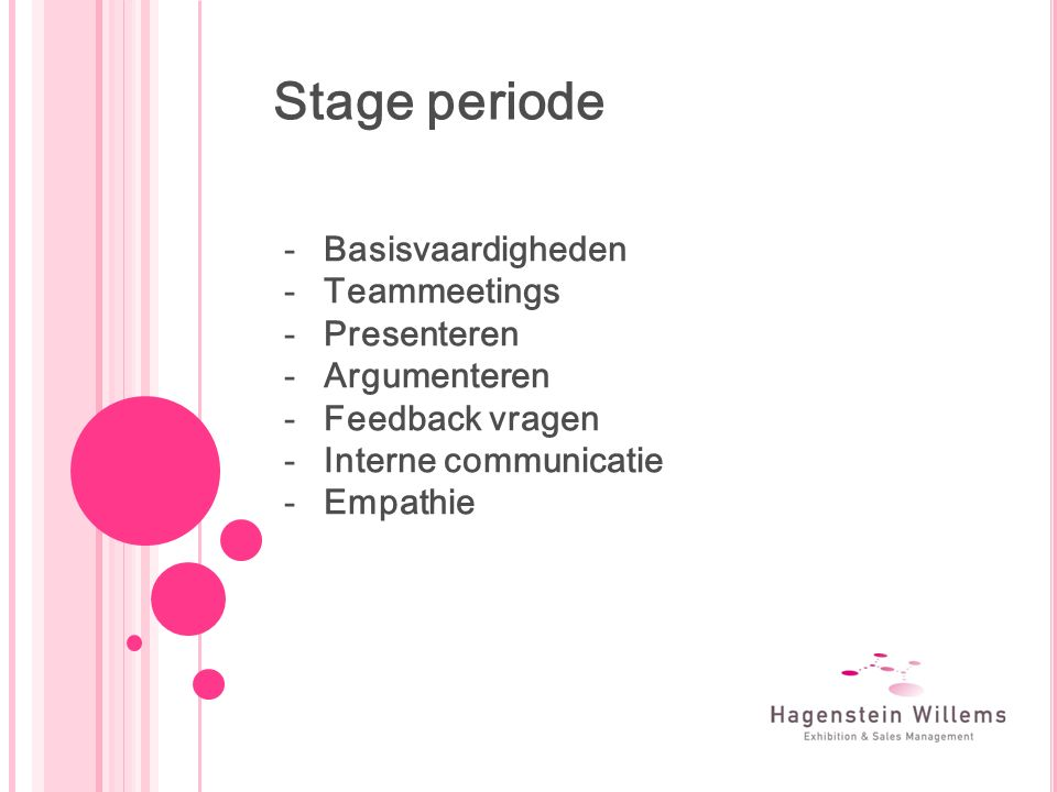 Stage periode -Basisvaardigheden -Teammeetings -Presenteren -Argumenteren -Feedback vragen -Interne communicatie -Empathie