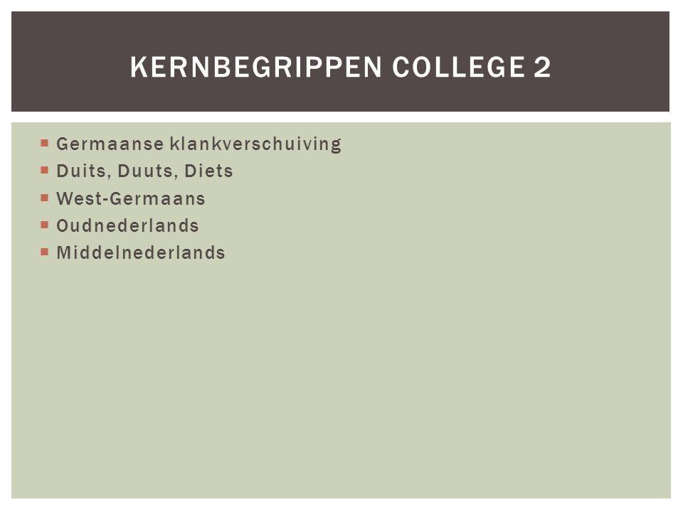  Germaanse klankverschuiving  Duits, Duuts, Diets  West-Germaans  Oudnederlands  Middelnederlands KERNBEGRIPPEN COLLEGE 2