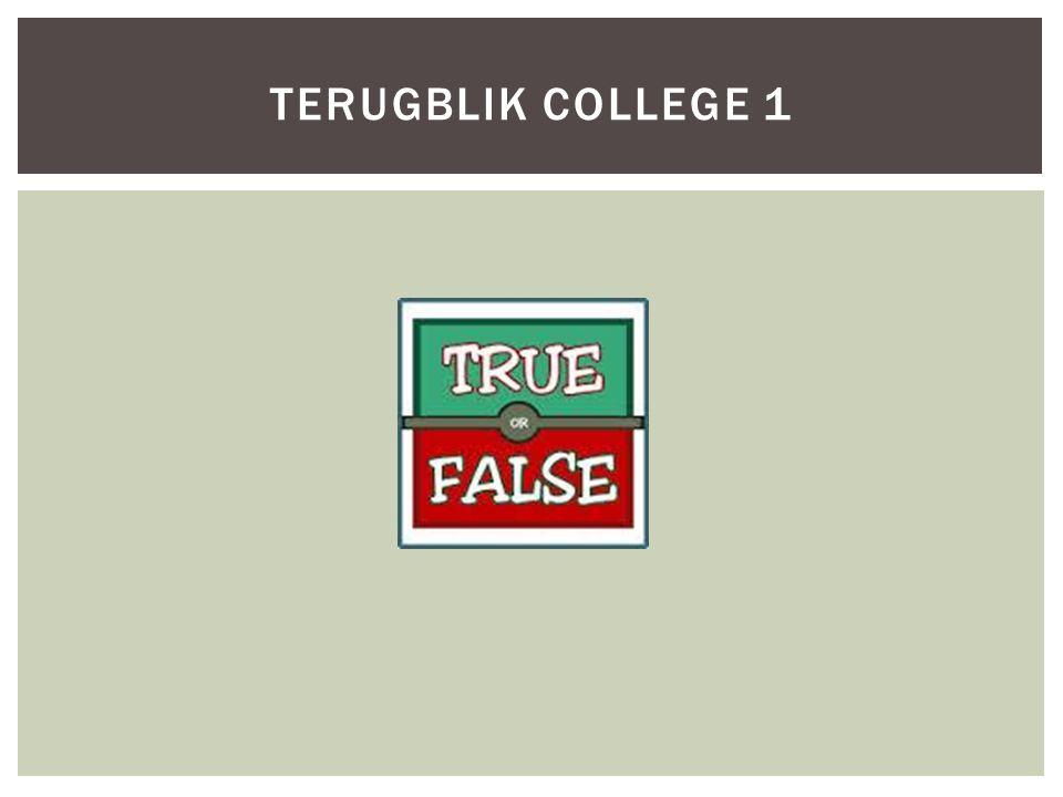TERUGBLIK COLLEGE 1
