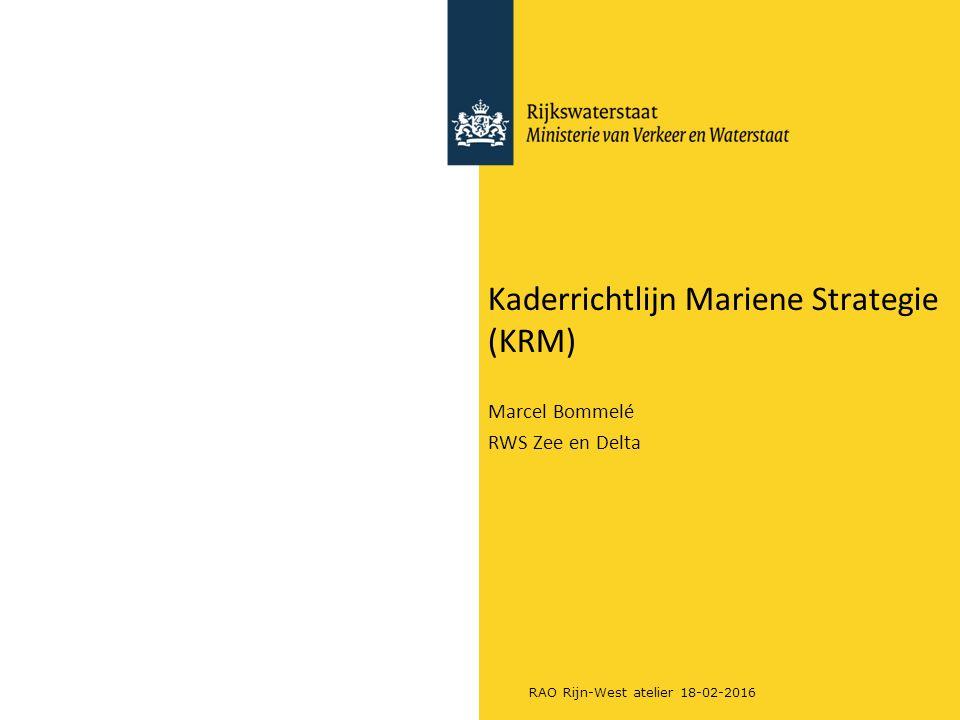 RAO Rijn-West atelier 18-02-2016 Kaderrichtlijn Mariene Strategie (KRM) Marcel Bommelé RWS Zee en Delta