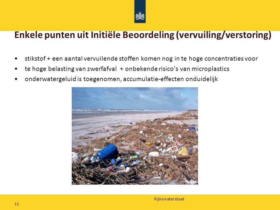 Rijkswaterstaat 12 Enkele punten uit Initiële Beoordeling (vervuiling/verstoring) stikstof + een aantal vervuilende stoffen komen nog in te hoge conce