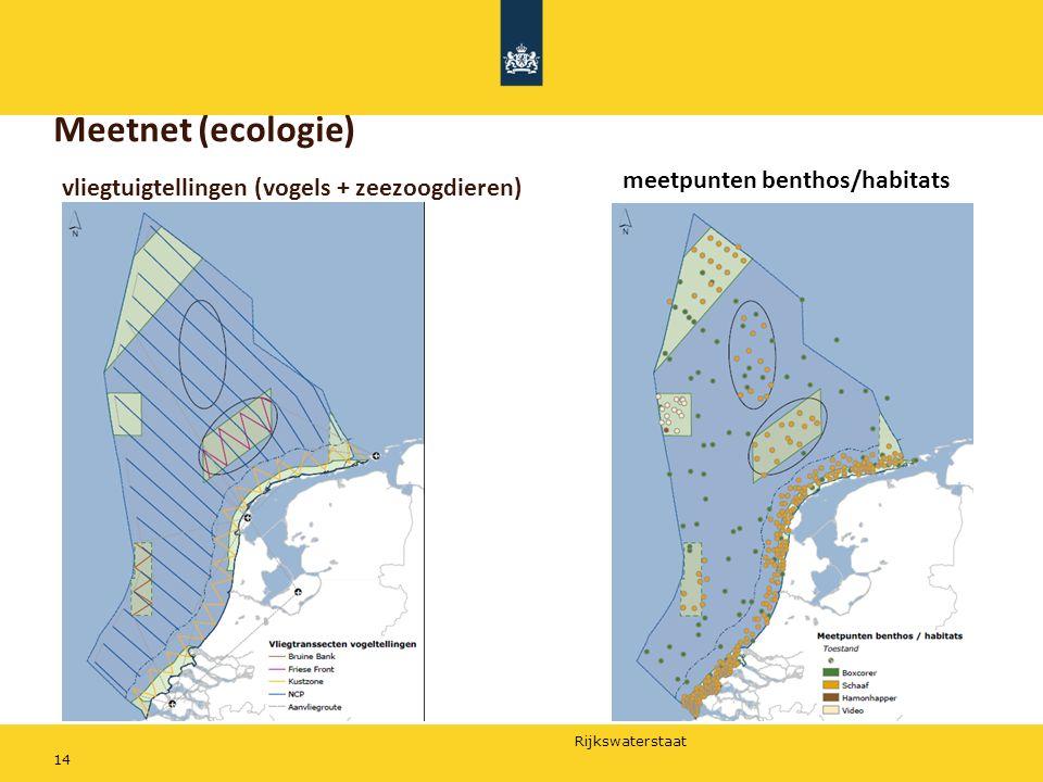 Rijkswaterstaat Meetnet (ecologie) 14 meetpunten benthos/habitats vliegtuigtellingen (vogels + zeezoogdieren)