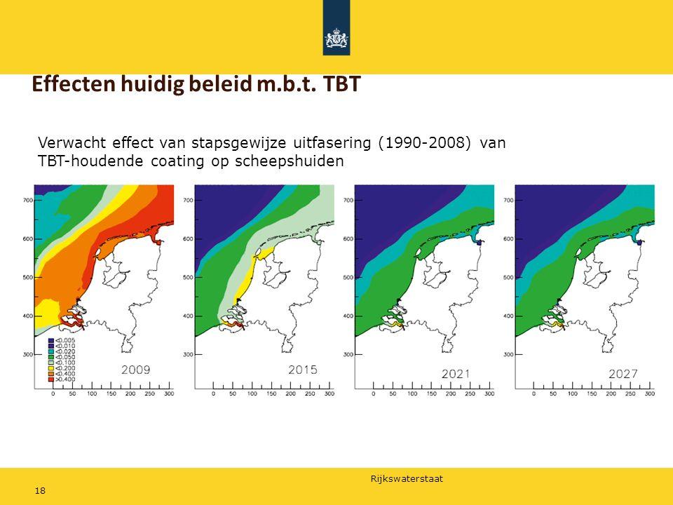 Rijkswaterstaat 18 Effecten huidig beleid m.b.t. TBT Verwacht effect van stapsgewijze uitfasering (1990-2008) van TBT-houdende coating op scheepshuide