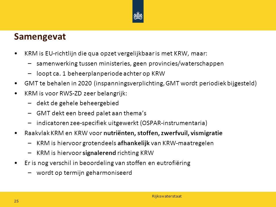 Rijkswaterstaat 25 KRM is EU-richtlijn die qua opzet vergelijkbaar is met KRW, maar: –samenwerking tussen ministeries, geen provincies/waterschappen –