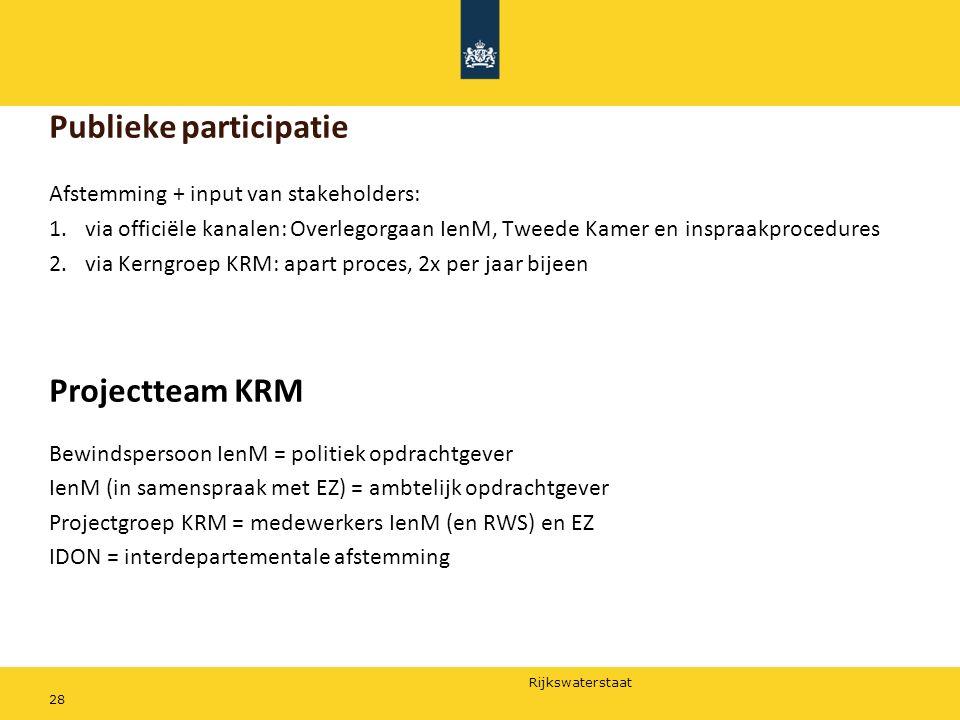 Rijkswaterstaat 28 Publieke participatie Afstemming + input van stakeholders: 1.via officiële kanalen: Overlegorgaan IenM, Tweede Kamer en inspraakpro