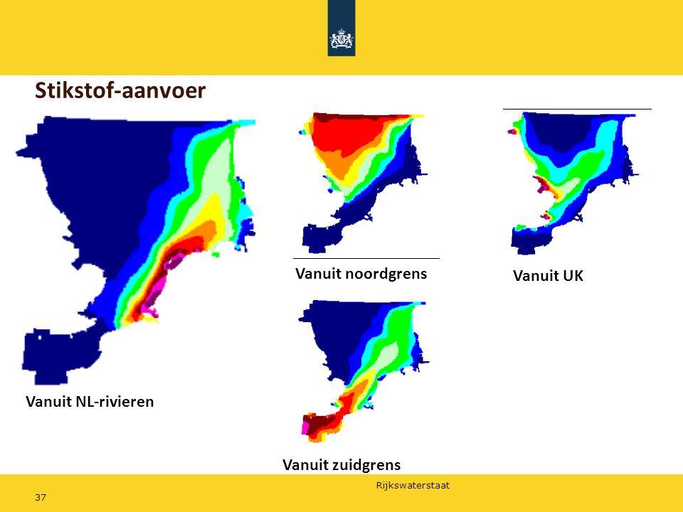 Rijkswaterstaat 37 Stikstof-aanvoer Vanuit NL-rivieren Vanuit noordgrens Vanuit zuidgrens Vanuit UK