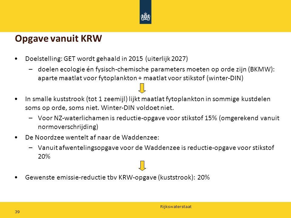 Rijkswaterstaat 39 Doelstelling: GET wordt gehaald in 2015 (uiterlijk 2027) –doelen ecologie én fysisch-chemische parameters moeten op orde zijn (BKMW