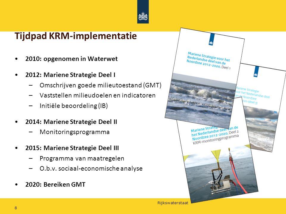 Rijkswaterstaat 8 Tijdpad KRM-implementatie 2010: opgenomen in Waterwet 2012: Mariene Strategie Deel I –Omschrijven goede milieutoestand (GMT) –Vastst