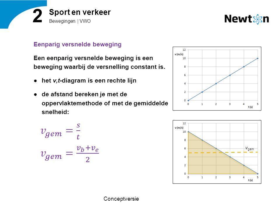 Eenparig versnelde beweging Een eenparig versnelde beweging is een beweging waarbij de versnelling constant is. ●het v,t-diagram is een rechte lijn ●d