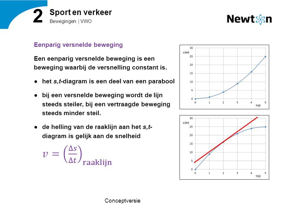 Eenparig versnelde beweging Een eenparig versnelde beweging is een beweging waarbij de versnelling constant is. ●het s,t-diagram is een deel van een p