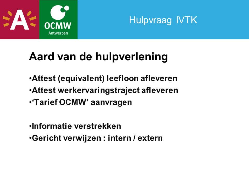 Hulpvraag IVTK Aard van de hulpverlening Attest (equivalent) leefloon afleveren Attest werkervaringstraject afleveren 'Tarief OCMW' aanvragen Informat